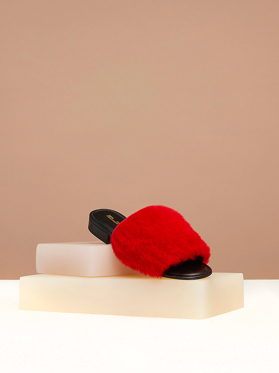 Shearling Slides in Red by DVF