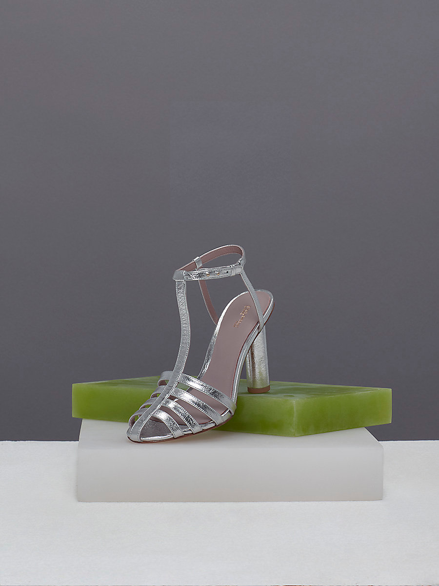 Eva Heels in Metallic Silver by DVF