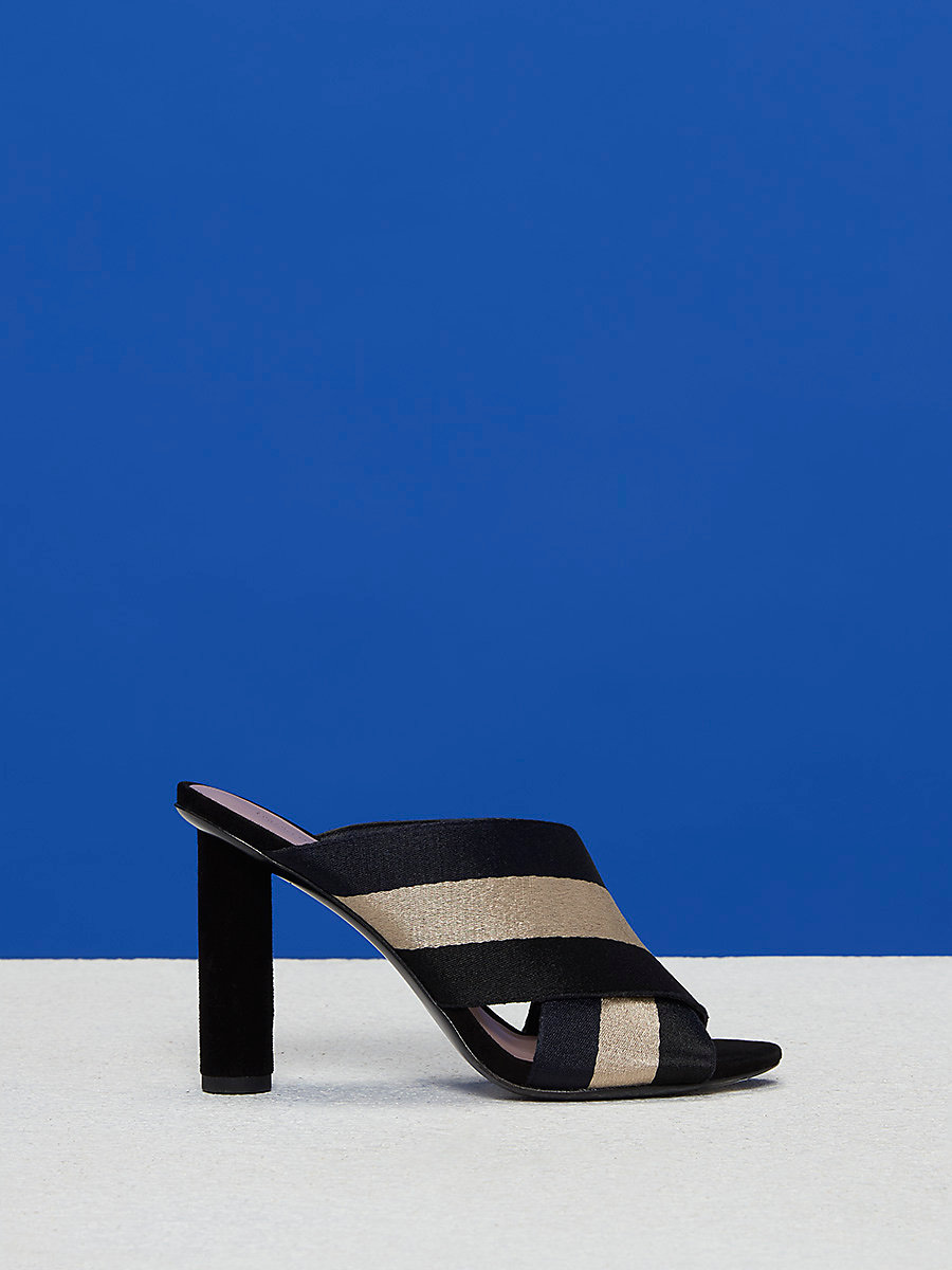 Cross Over Ribbon Heel in Black/dune by DVF