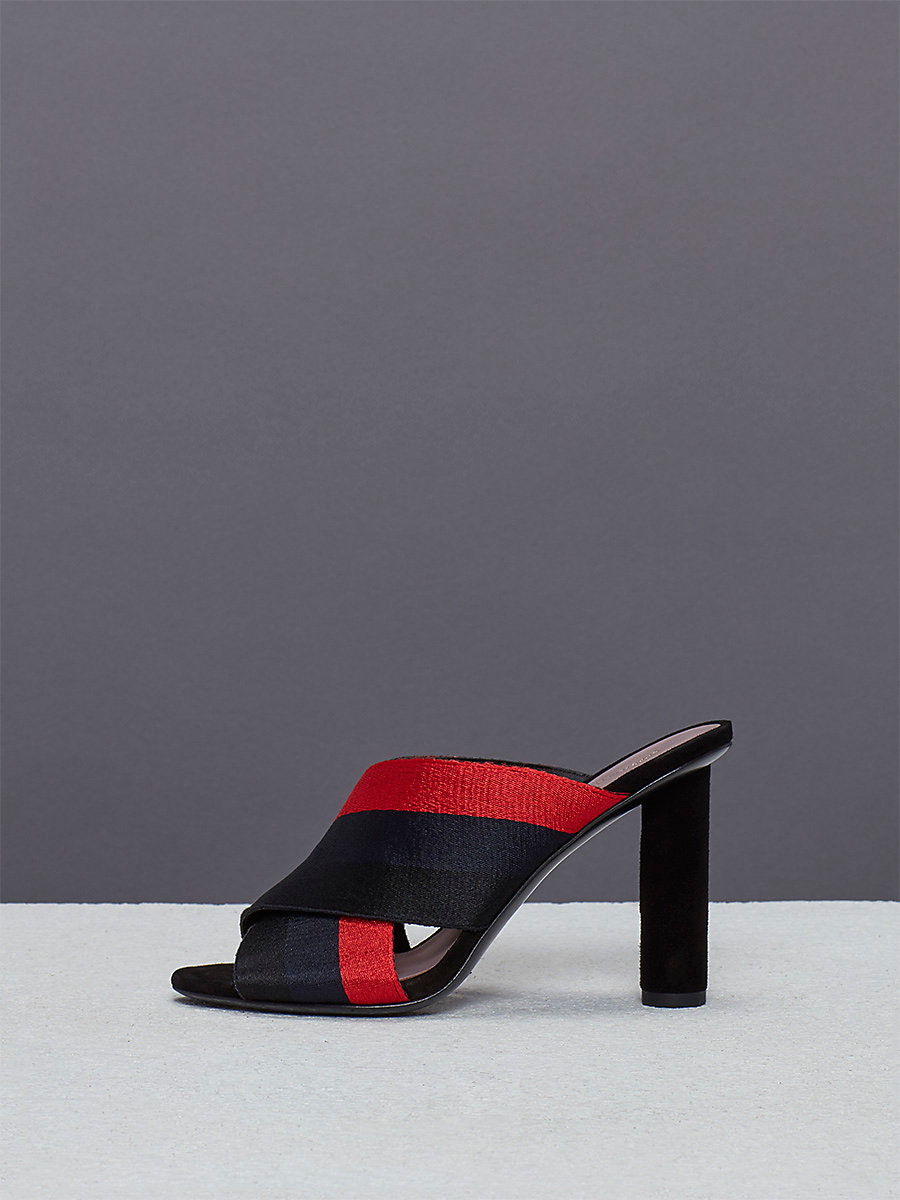 Cross Over Ribbon Heel in Navy/lipstick by DVF