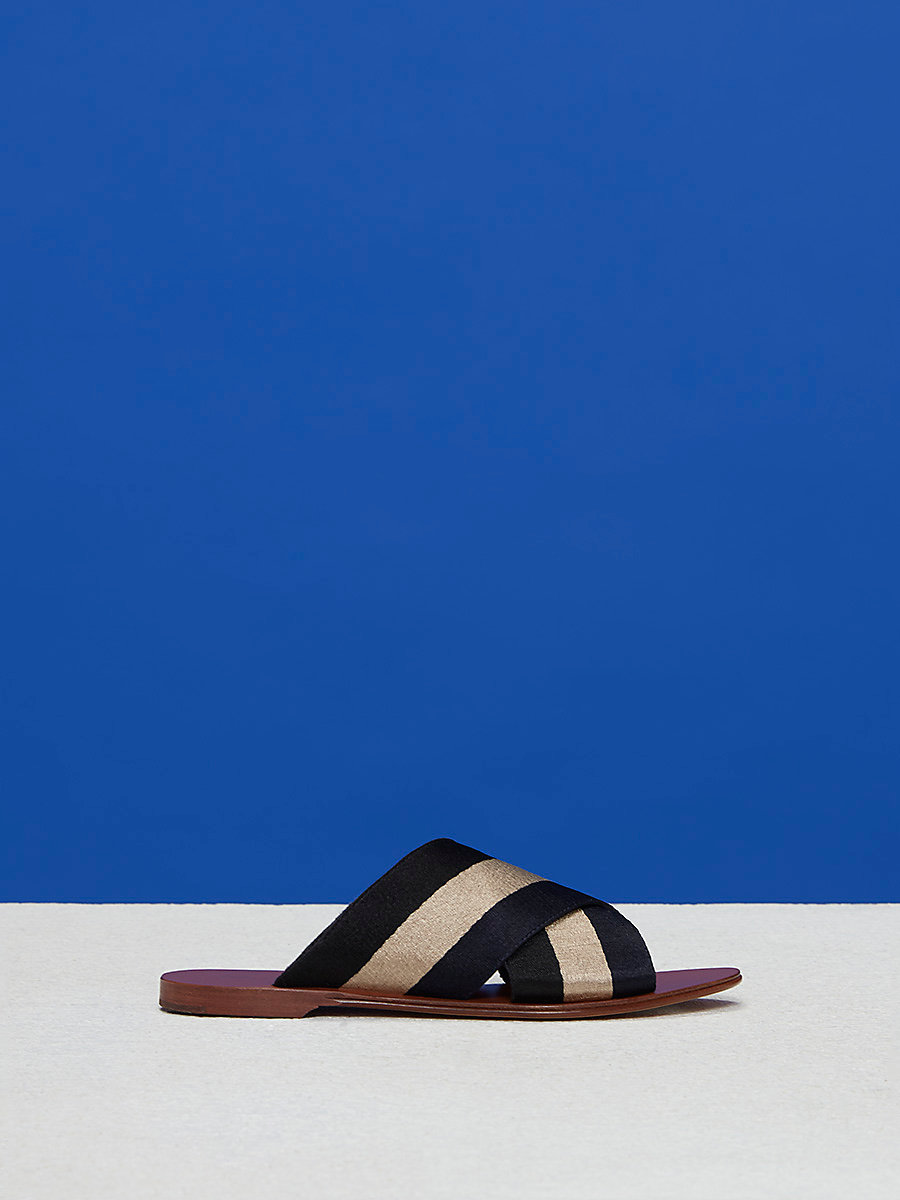 Ribbon Slides in Black/dune by DVF