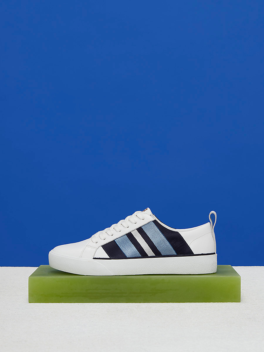 Ribbon Sneakers in White/black/navy by DVF