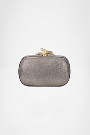 Lytton Small Metallic Leather Clutch