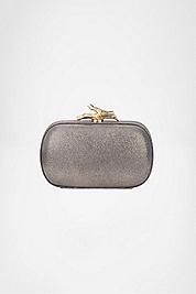 Lytton Small Metallic Leather Clutch