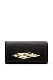 Carolina Lips Leather Clutch