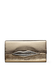Carolina Lips Metallic Leather Clutch