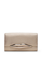 Carolina Lips Metallic Canvas Clutch