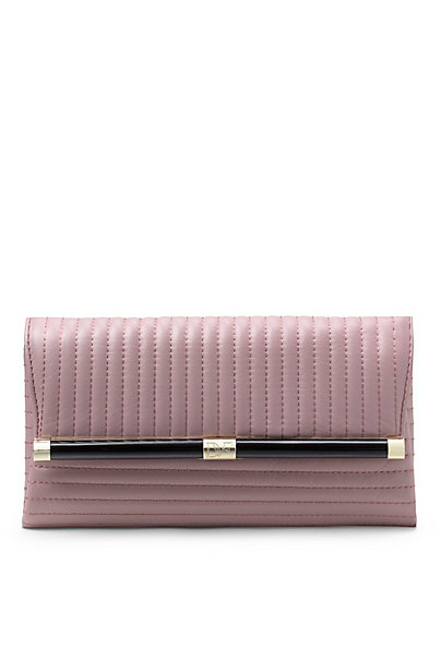 440 Envelope Rail Quilted Leather Clutch in Candy Pink by DVF