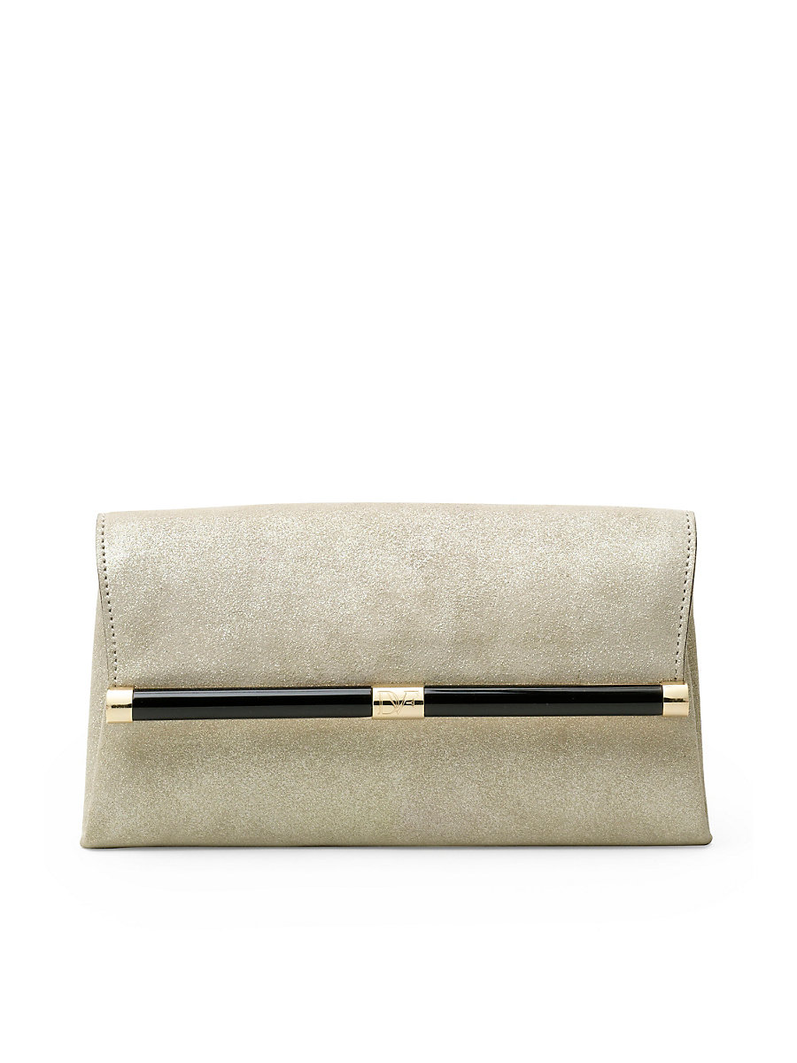440 Envelope Stardust Leather Clutch in Shimmer Sand by DVF