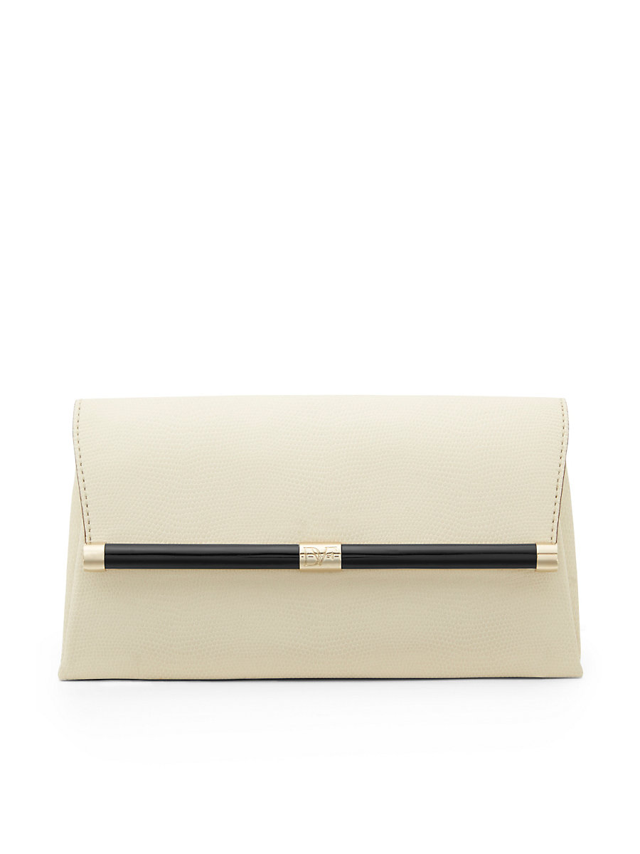 440 Envelope Embossed Lizard Clutch in Parchment by DVF