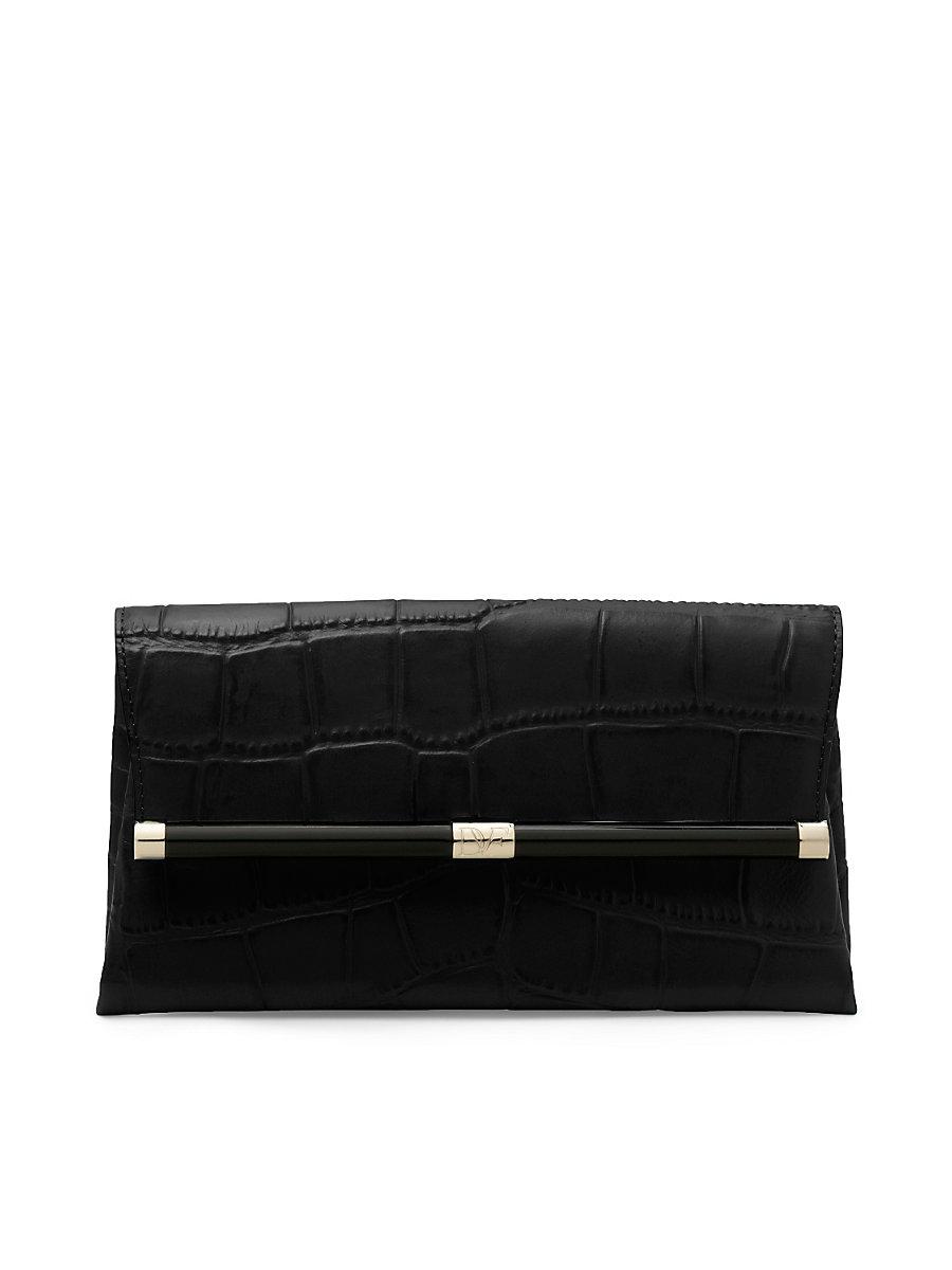 440 Envelope Embossed Croc Clutch in Black by DVF