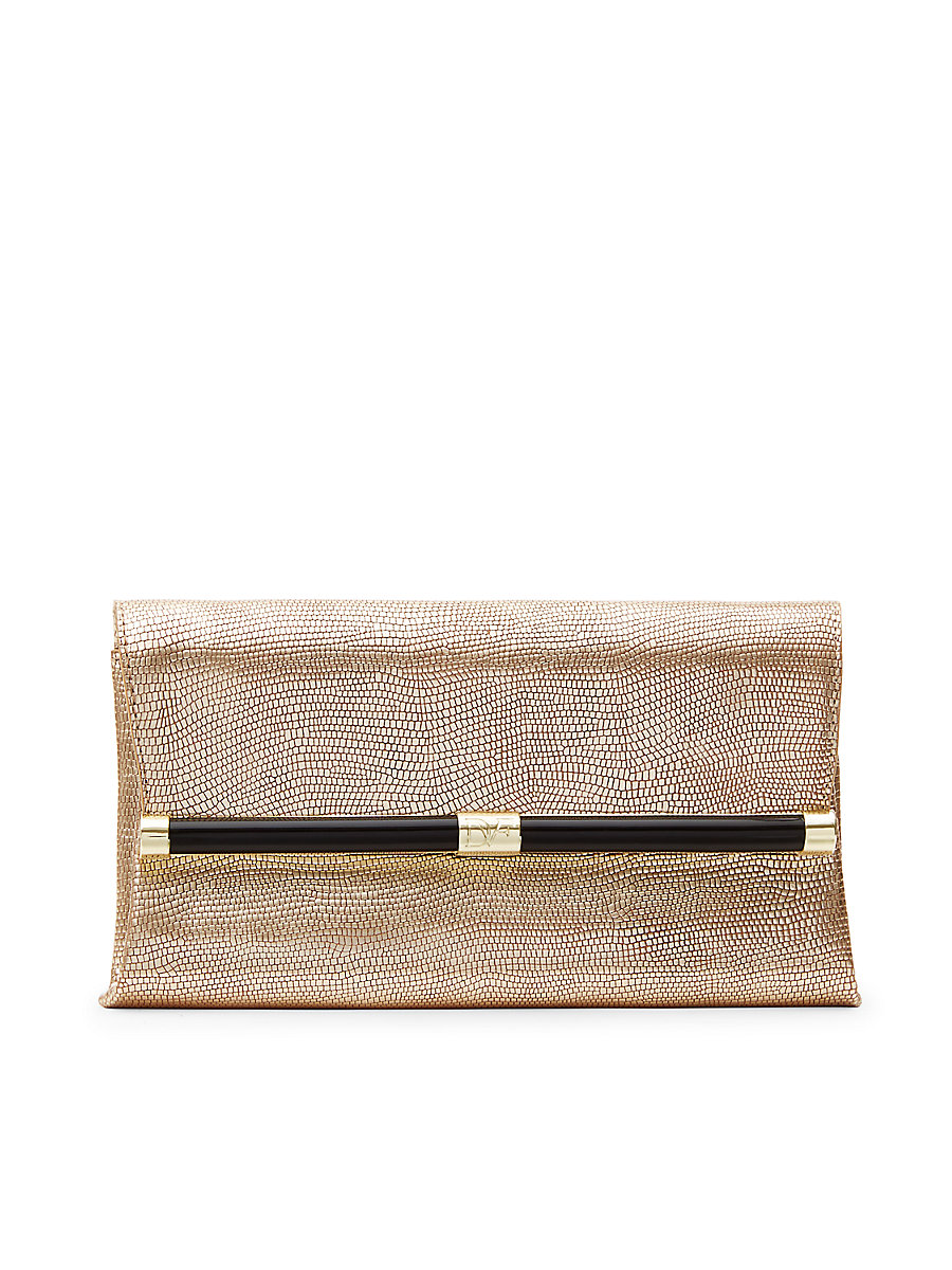 440 Envelope Metallic Foil Lizard Clutch in Light Gold by DVF