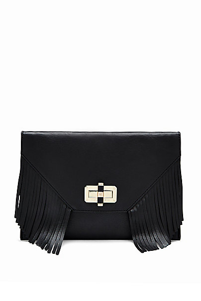 440 Gallery Folio Fringe Crossbody Bag in Black by DVF