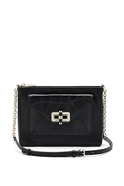 440 Gallery Uptown Leather Crossbody Bag in Black by DVF