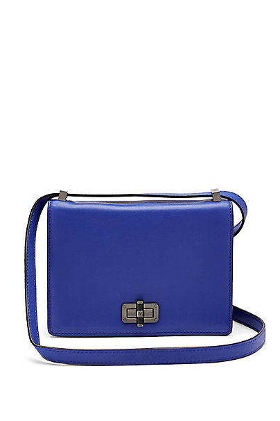 440 Gallery LES Leather Crossbody Bag in Lapis Shock by DVF