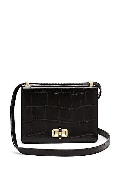 440 Gallery LES Embossed Croc Crossbody Bag in Black by DVF
