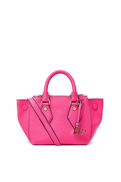 Voyage Itsy Double Zip Caviar Mini Satchel in Shocking Pink by DVF
