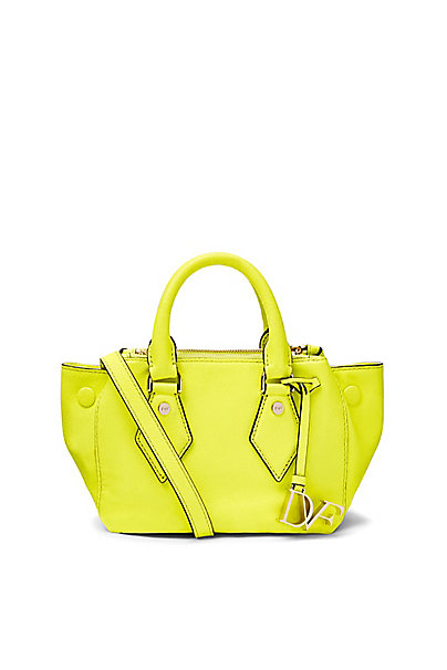 Voyage Itsy Double Zip Caviar Mini Satchel in Shocking Yellow by DVF