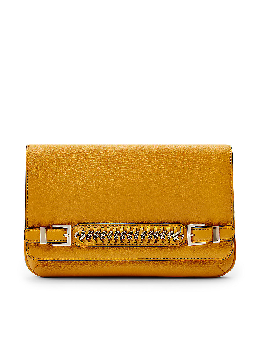 Iggy Leather Hand Strap Clutch in Honey Mustard by DVF
