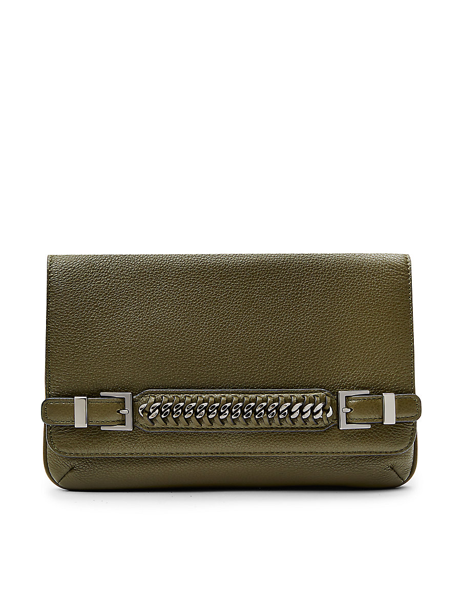 Iggy Leather Hand Strap Clutch in Military Green by DVF