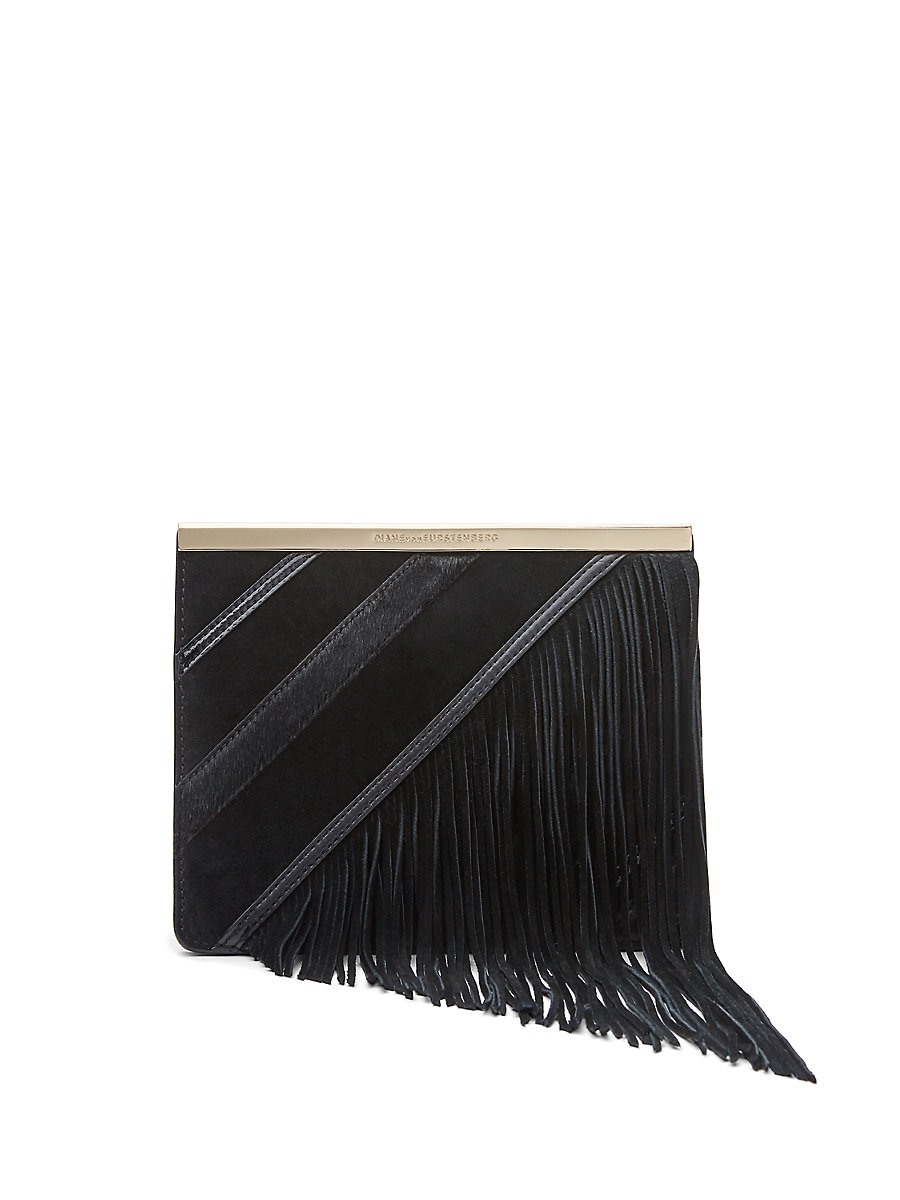 Soiree Tuxedo Flap Fringe Flap Bag in Black Multi by DVF