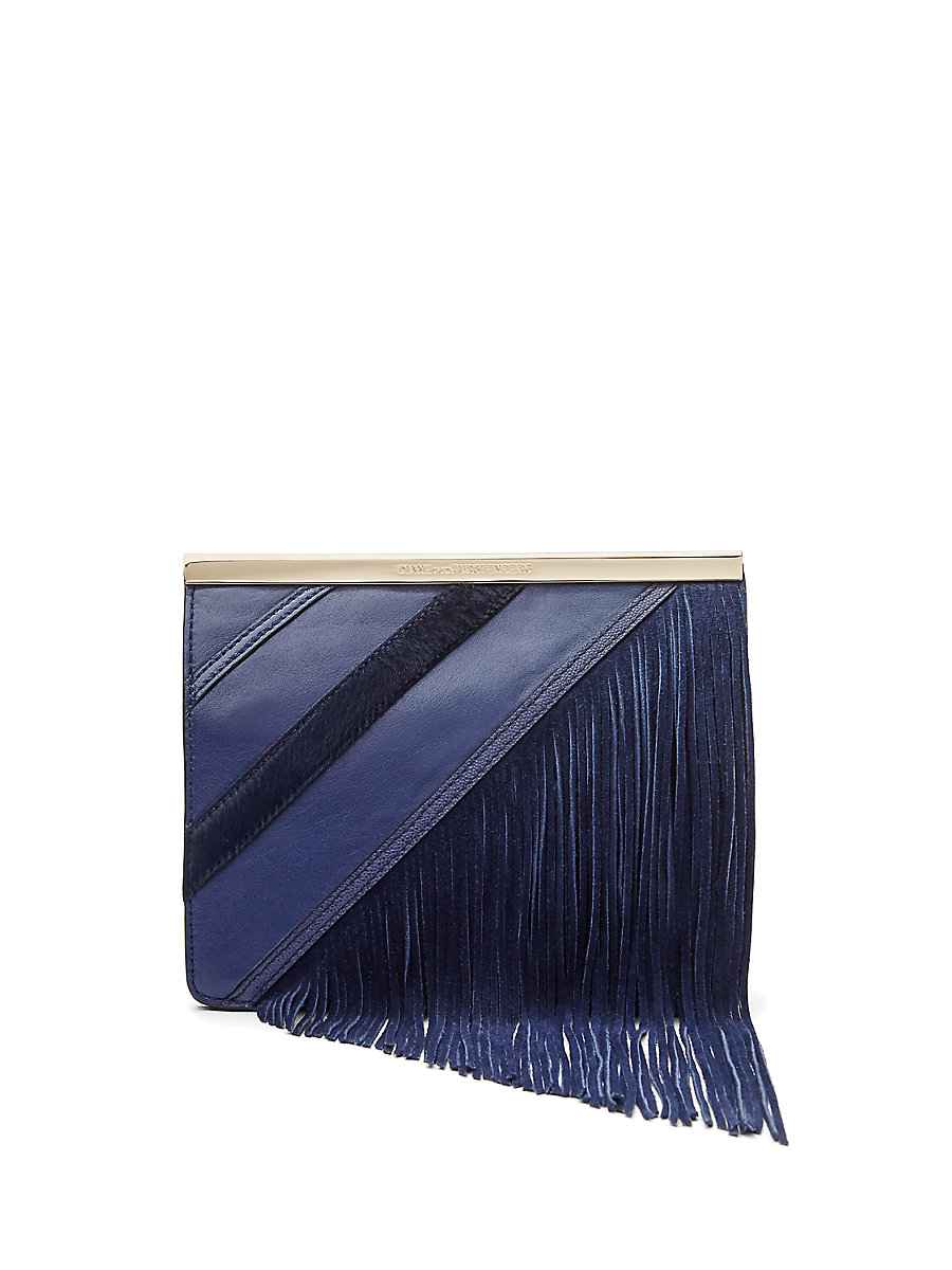 Soiree Tuxedo Flap Fringe Flap Bag in Dark Night Multi by DVF