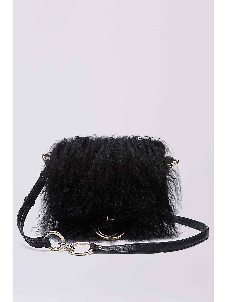 DVF Love Power Mongolian Fur Saddle Bag in Black by DVF