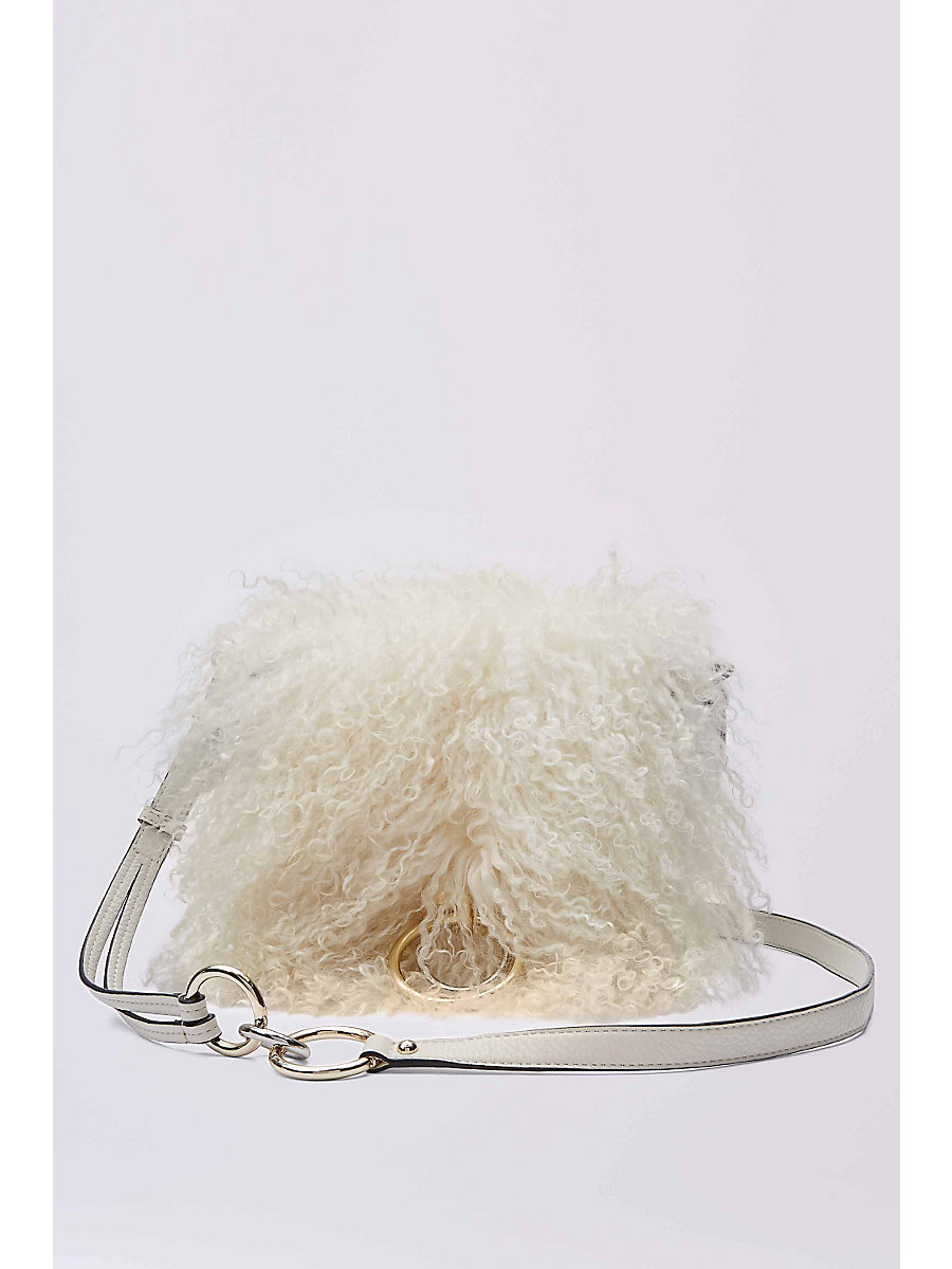 DVF Love Power Mongolian Fur Saddle Bag in Vanilla/white by DVF