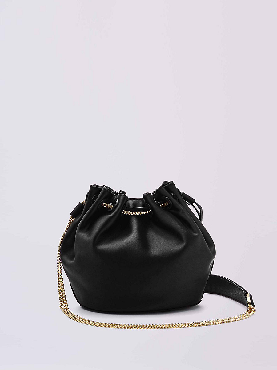 Mini Satin Drawstring Bucket Bag in Black by DVF