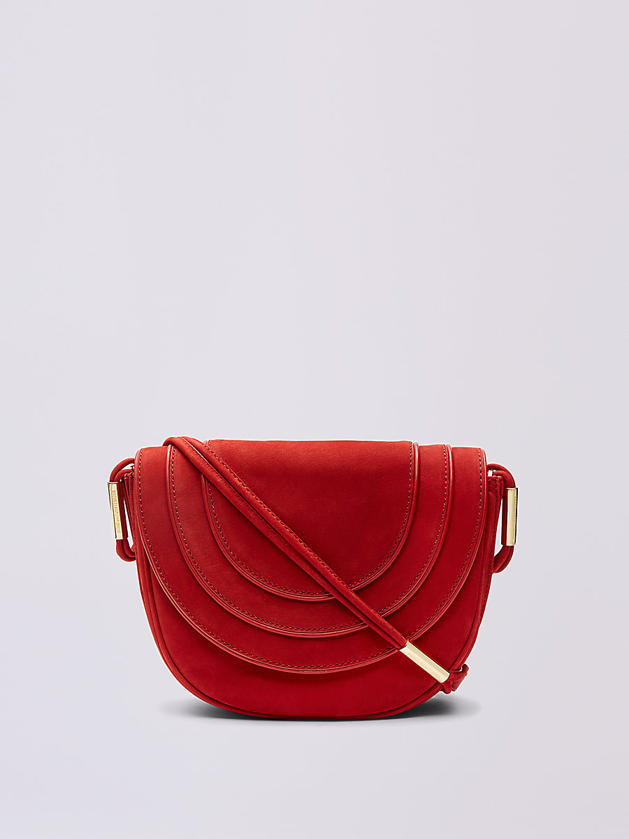 Nubuck Crossbody Saddle Bag in Rust by DVF