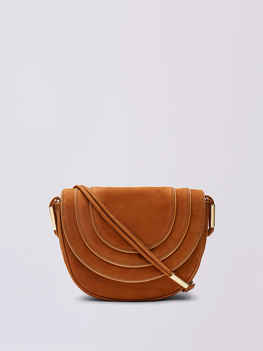 Nubuck Crossbody Saddle Bag in Whiskey by DVF