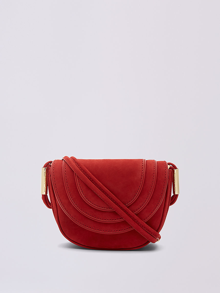 Mini Nubuck Crossbody Saddle Bag in Rust by DVF