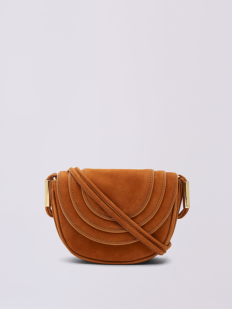Mini Nubuck Crossbody Saddle Bag in Whiskey by DVF