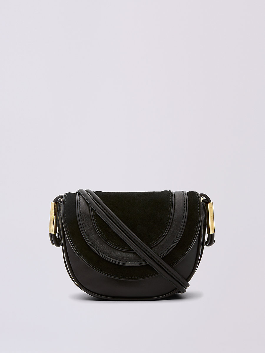 Mini Leather and Suede Saddle Bag in Black by DVF