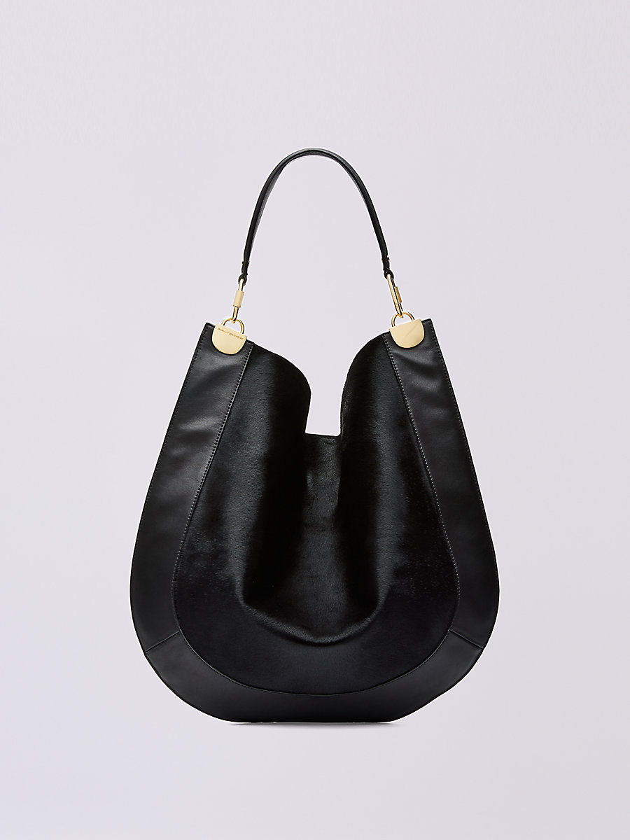 Large Calf Hair and Leather Hobo in Black by DVF
