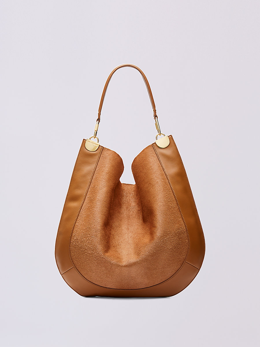 Large Calf Hair and Leather Hobo in Whiskey by DVF