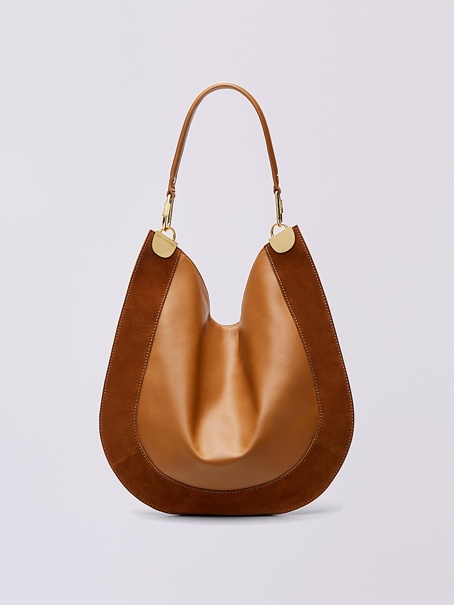 Leather and Suede Hobo in Whiskey by DVF