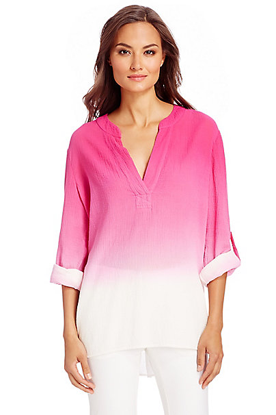 DVF Esti Ombre Cotton Blouse in Beet Ombre by DVF