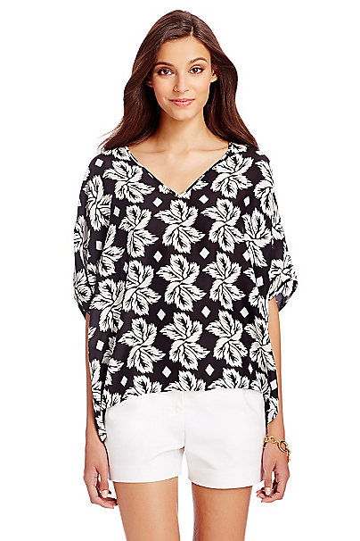 DVF Adria Silk Tunic Top in Giant Leaf Floral Black by DVF
