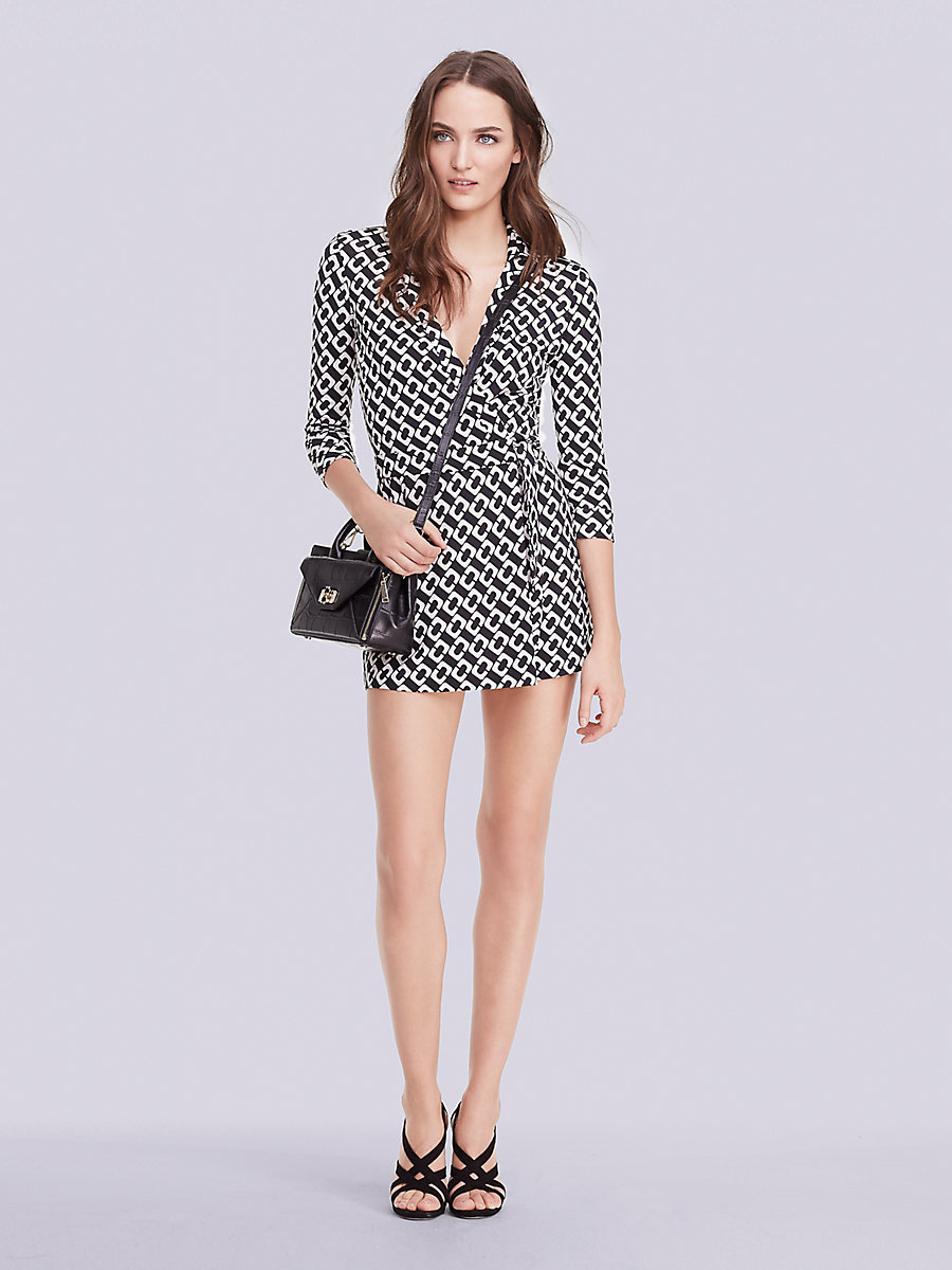 Celeste Silk Jersey Wrap Romper in Chain Link Medium by DVF