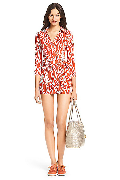 Celeste Silk Jersey Wrap Playsuit in Ikat Stamp Coral by DVF