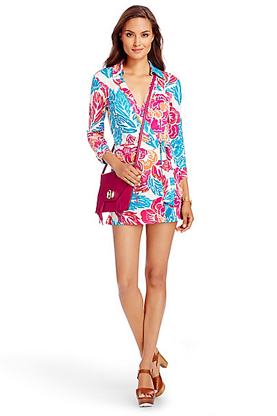 Celeste Silk Jersey Wrap Playsuit in Giant Floral Multi by DVF