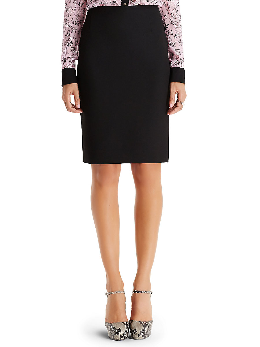 DVF Shilah Slit Ceramic Pencil Skirt  in Black by DVF