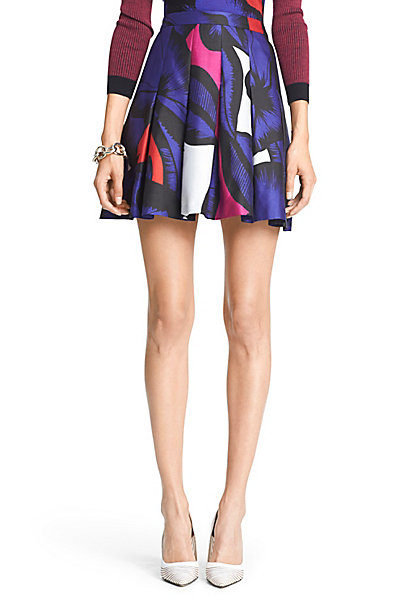 Gemma Mikado Pleated Skirt in Poppy Leopard Placement Pink by DVF