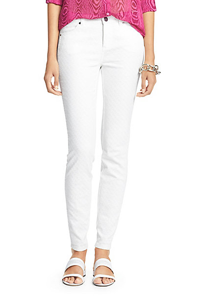 Luna Chain Link Denim Pant in White by DVF