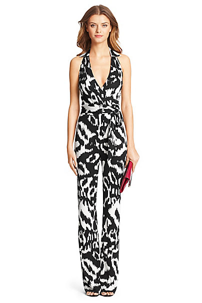 DVF Zola Silk Jersey Halter Jumpsuit in Flower Ikat Black by DVF