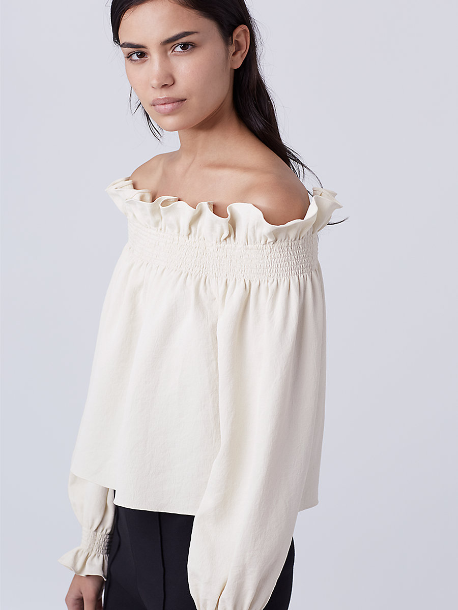 DVF Georgie Off the Shoulder Top in Canvas White by DVF
