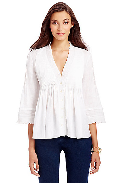 DVF Layla Linen Blouse in White by DVF