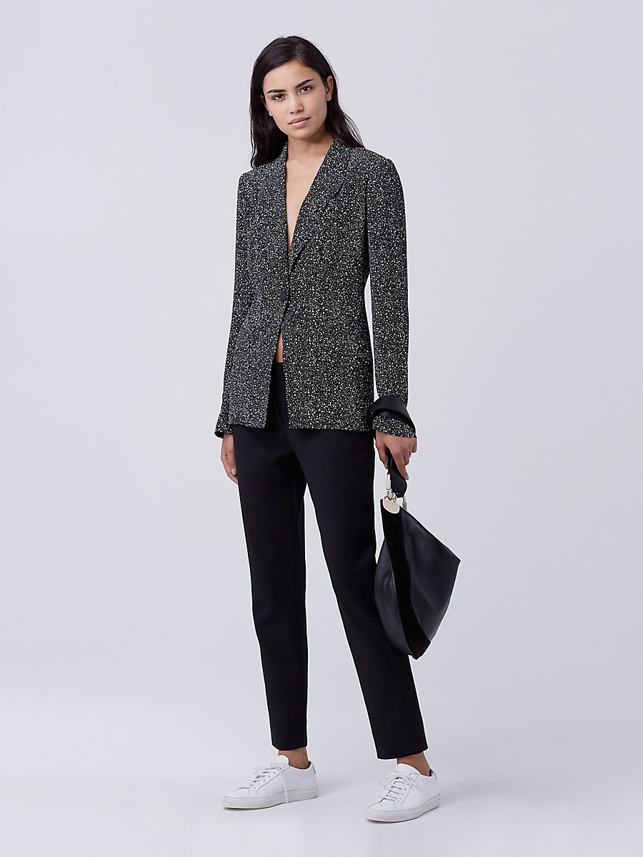 DVF Charlotte Soft Blazer in Stella Mini Black by DVF