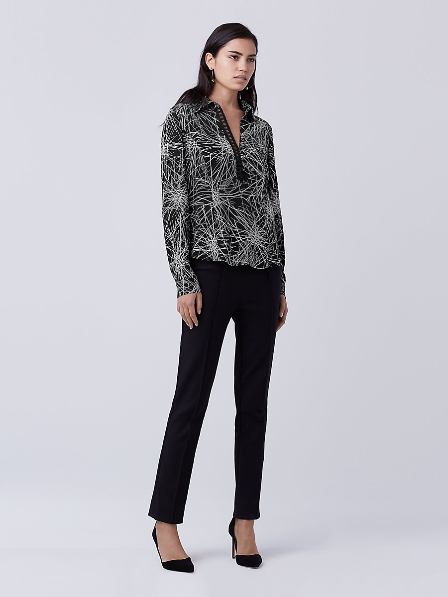DVF Milan Top in Light Beam Black by DVF